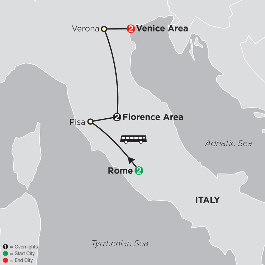 Rome, Florence, Venice map
