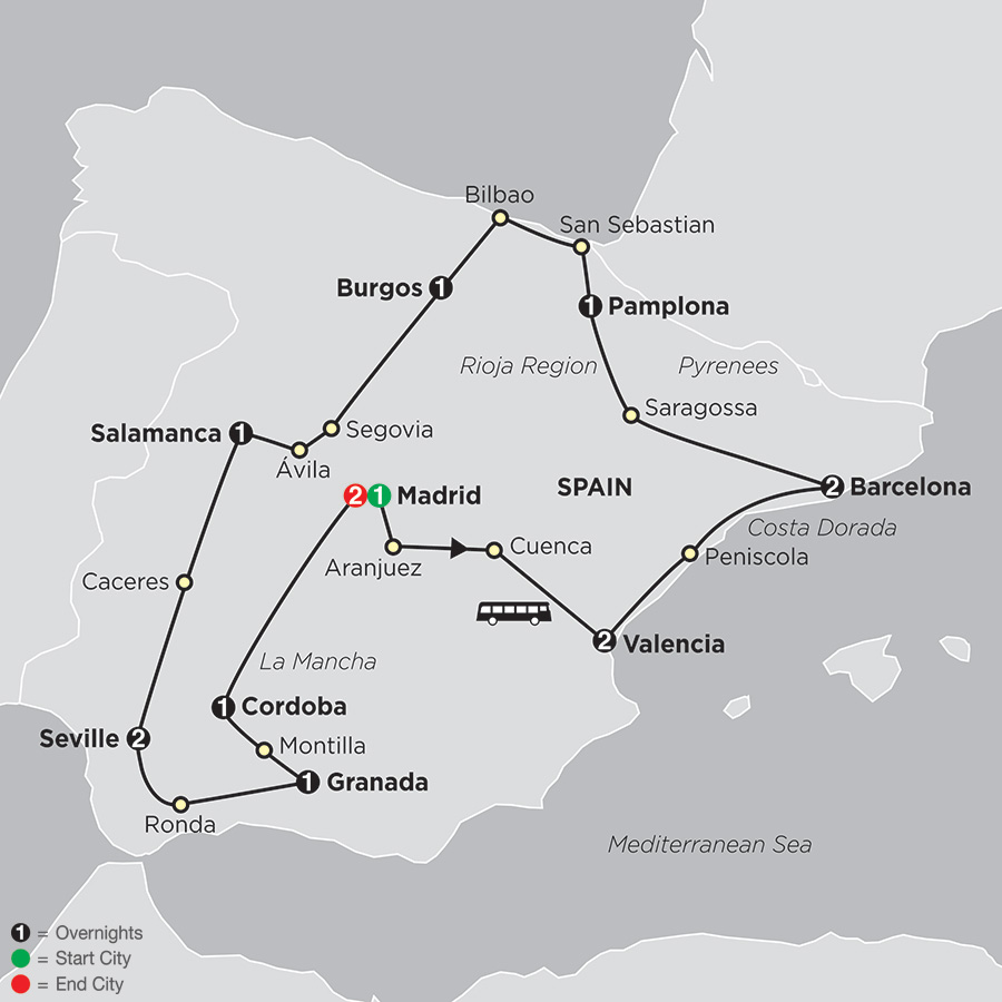 Grand Tour of Spain map